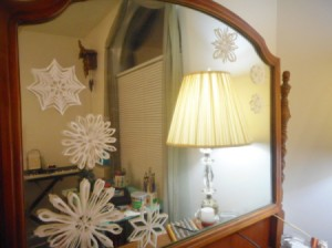 Snowy Window or Mirror - arrange and stick them to the mirror