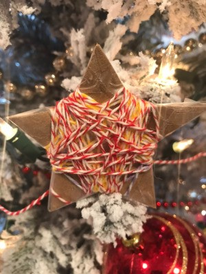 Cardboard Star Ornament  - ornament hanging on the tree