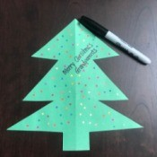 Christmas Ornament Card - card with greeting written on the front