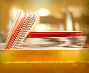 Pile of greeting cards.