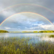 Double rainbow over a lake.