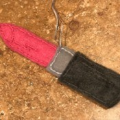 Felt Lipstick Ornament - felt pink lipstick ornament with hanger
