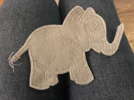 Felt Elephant Ornament - front of the finished elephant ornament