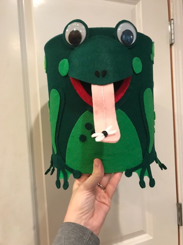 Ice Cream Bucket Frog Totem - hand holding the finished totem piece