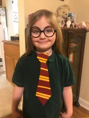 Felt Clip-on Harry Potter Ties - birthday boy wearing a tie and his Harry Potter glasses