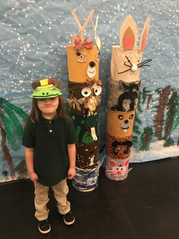 Ice Cream Bucket Frog Totem - young boy wearing a frog visor style hat