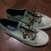 Shoes Damaged by Bleach - bleach damage