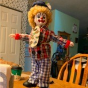 Information on a Brinns Clown Doll - clown doll on a stand