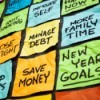 A wall of sticky notes with New Year resolutions.