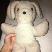 Identifying an Old Stuffed Animal - pink and white stuffed dog