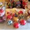 Christmas ornaments stored in plastic produce containers