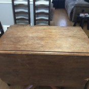 Value of an Antique Drop Leaf Table - medium wood table with drop leaves