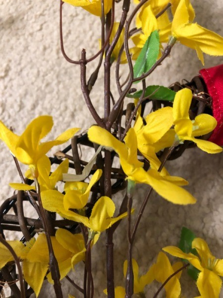 Chinese New Year Wreath - closeup of faux forsythia