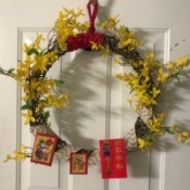 Chinese New Year Wreath - wreath hanging on door