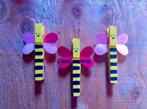"""""""Bee Mine"""" Clothespin Craft - three finished bee clothespins"""
