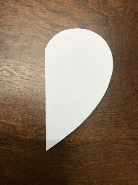 Valentine's Day Paper Craft Card - folded white paper heart template