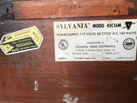The label inside a Sylvania console stereo system.