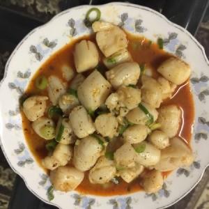 Chili Sauce Sauteed Scallops