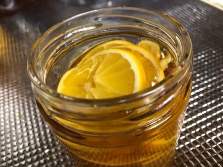 stack of lemon slices in tea