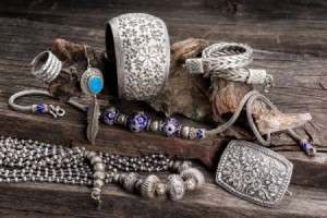 array of silver jewelry