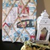 Making A Memory Board From Packing Materials - board in holder on mantel