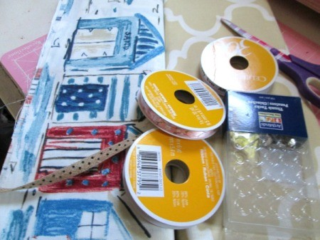 Making A Memory Board From Packing Materials - ribbon and fabric