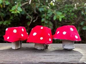Egg Carton Magic Mushrooms - cute little paper red and white mushrooms