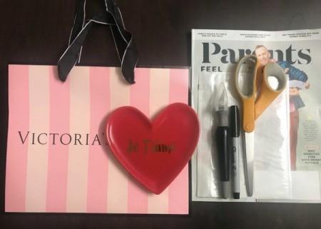 Repurpose Victoria's Secret Shopping Bag for Valentine's Day - supplies