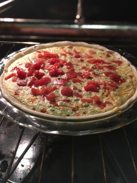 Spanish Quiche in oven
