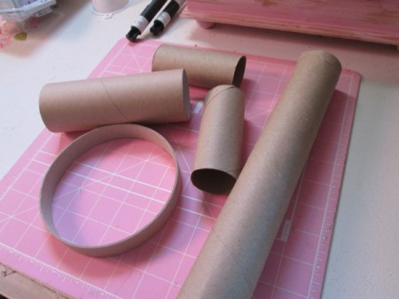 Recycled Paper Rolls as Heart Stamps - various diameter and lengths of paper tubes