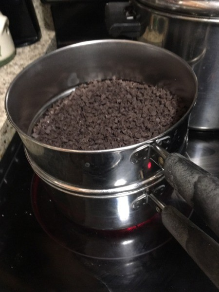 chocolate chips in double boiler