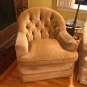 Value of  John Bruener Velour Chairs - tan round back upholstered chair