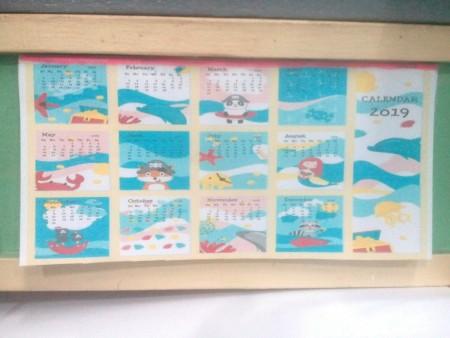 Daily Activity Calendar - hanging on a bulletin board