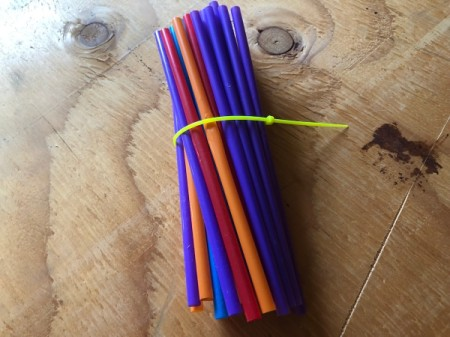 Drinking Straw Starbursts - zip tie the bundle of straws loosely