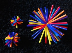 Drinking Straw Starbursts - finished starbursts against a black background