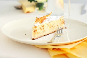 slice of cake on a white plate