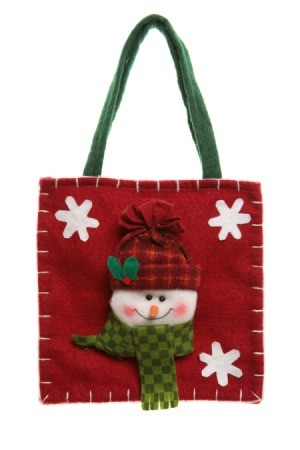 red felt bag with a snowman on the front