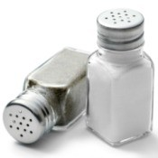 salt and pepper shakers on white background