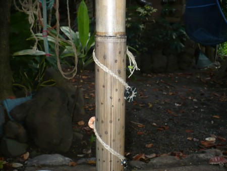 Making a Bamboo Rain Stick - braid some string and decorate the instrument. Be sure to glue the string in place.