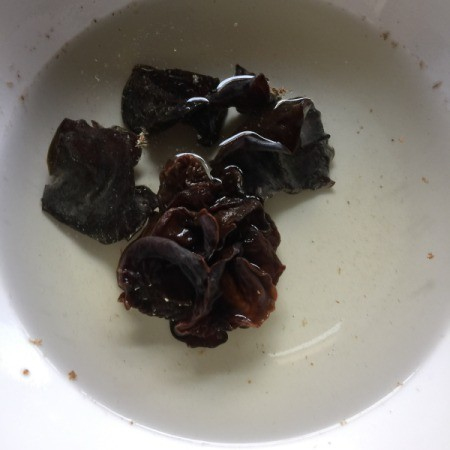 Dried Black Fungus Mushroom in bowl of water