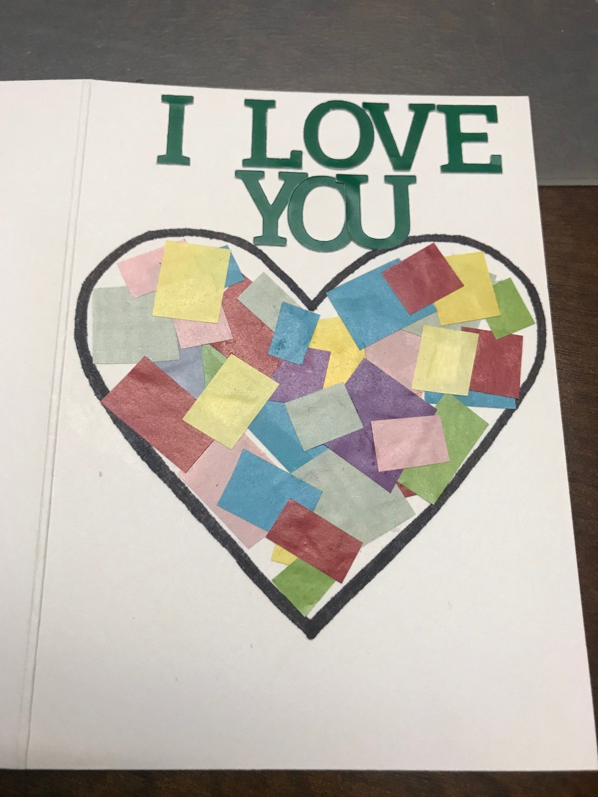 """making a """"i love you to pieces"""" valentine's day card"""