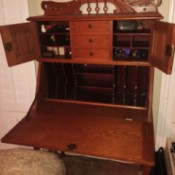 Identifying an Antique Desk - drop front desk with storage above and cubbies inside