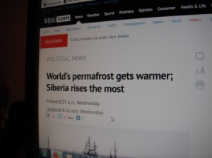 Using Your Computer as a Dictionary - article about permafrost up on screen