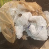 A messy pile of plastic grocery bags.
