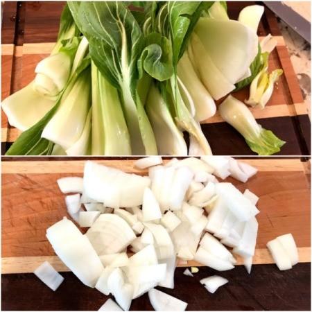 prepped bokchoy & onions