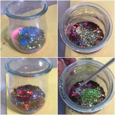 Air Plant with Layered Sand and Glitter - layers of  glitter