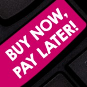 Buy now pay later button on a computer keyboard.
