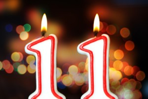 The number 11 birthday candle.