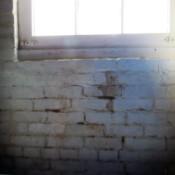 Basement brick wall and window edge.