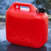 Gas can on the car hood.